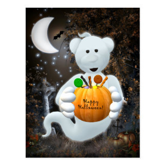 Dinky Bears Little Ghost with Goodies Postcard