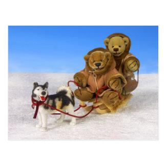 Dinky Bears on Dog Sled Postcard