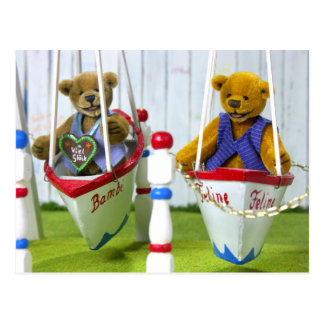 Dinky Bears on Swingboats Postcard