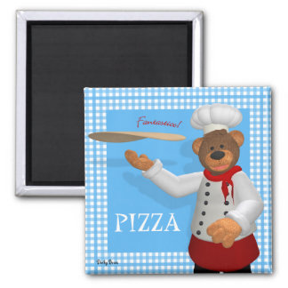 Dinky Bears Pizza Baker 2 Inch Square Magnet