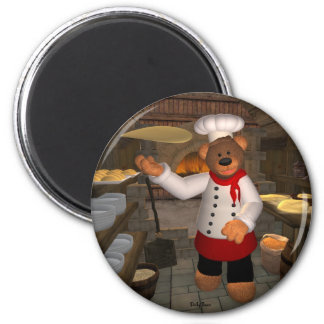 Dinky Bears Pizza Baker at Work 2 Inch Round Magnet