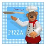 Dinky Bears Pizza Baker 5.25x5.25 Square Paper Invitation Card