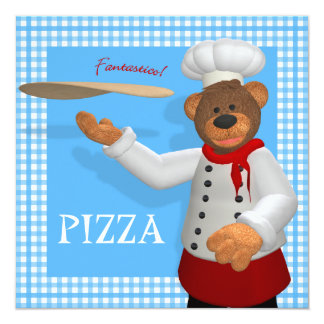 Dinky Bears Pizza Baker 5.25x5.25 Square Paper Invitation Card