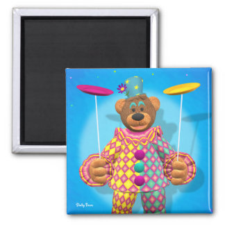 Dinky Bears Plate Spinning Clown 2 Inch Square Magnet