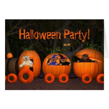 Halloween Themed Dinky Bears Pumpkin-Train Card