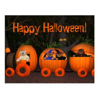 Dinky Bears Pumpkin-Train Post Cards
