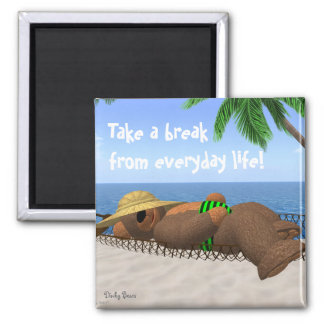 Dinky Bears: Relaxation 2 Inch Square Magnet