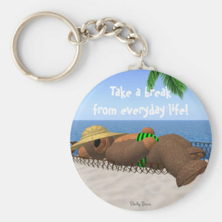 Dinky Bears: Relaxation Basic Round Button Keychain