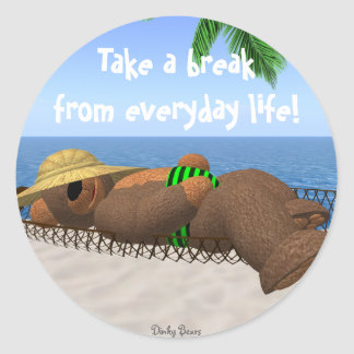 Dinky Bears: Relaxation Classic Round Sticker
