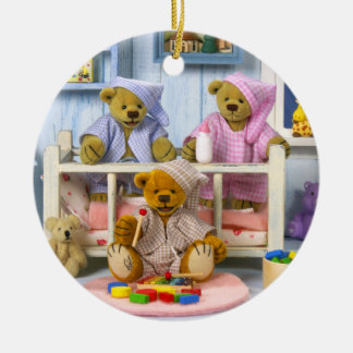 Dinky Bears Slumber Party Ceramic Ornament