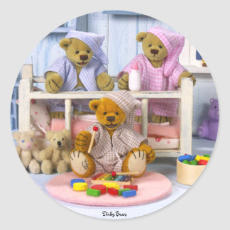 Dinky Bears Slumber Party Classic Round Sticker