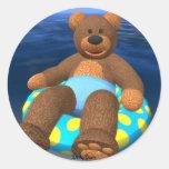Dinky Bears Water Fun Classic Round Sticker