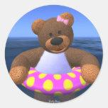 Dinky Bears Water Fun Round Sticker