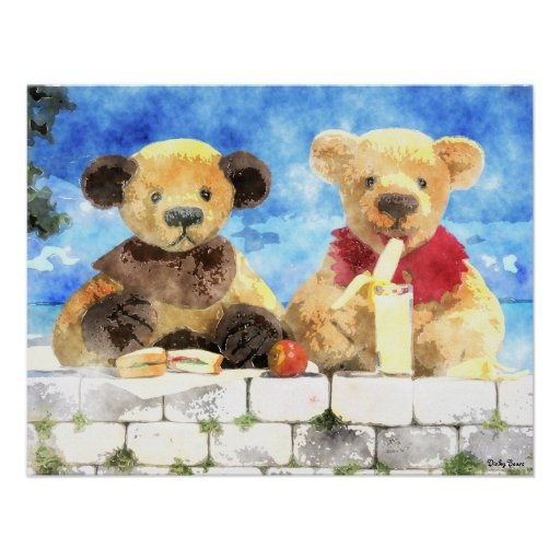 Dinky Bears Watercolor - Have a break Poster