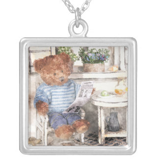 Dinky Bears Watercolor - Reading Bear Silver Plated Necklace