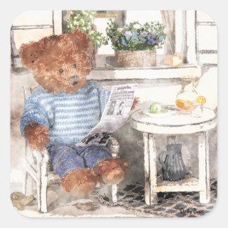 Dinky Bears Watercolor - Reading Bear Square Sticker