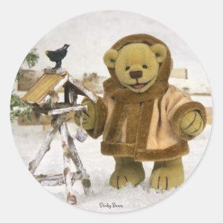 Dinky Bears Wintertime Classic Round Sticker
