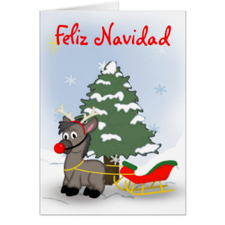 Dinky the Donkey at Christmas in Spanish Language Greeting Card