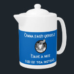 """Dinna Fash Yerself Tì Scottish Teapot<br><div class=""""desc"""">Celts everywhere know that the answer to any given situation - from peace to war, crisis to chilling out - is a nice cup of tea. The Scots Gaelic word tì adorns the back of this teapot. As expected, that translates into English as 'tea'. The Scots English phrase 'dinna fash...</div>"""