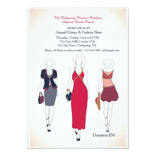 Dinner And Fashion Show Invitations Zazzle