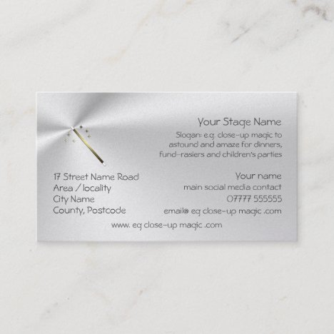Dinner and Party Magician, Golden Wand logo Business Card