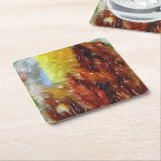 dinner art square paper coaster
