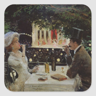 Dinner at Les Ambassadeurs, c.1882 Square Sticker