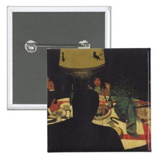 Dinner by Lamplight, 1899 Pinback Button
