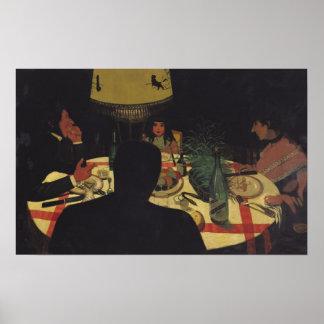Dinner by Lamplight, 1899 Poster