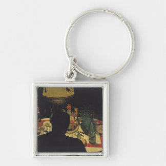 Dinner by Lamplight, 1899 Silver-Colored Square Keychain