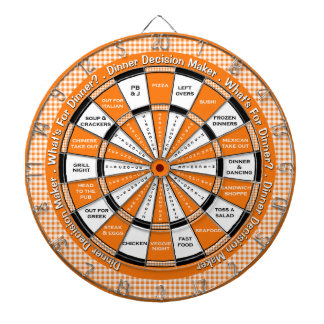 Dinner Decision Maker! Orange Checkered Tablecloth Dart Board