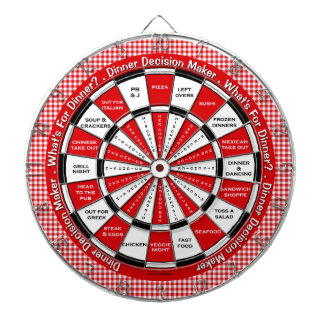 Dinner Decision Maker! Red Checkered Tablecloth Dartboard