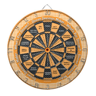 Dinner Decision Maker! Yellow Checkered Tablecloth Dart Board