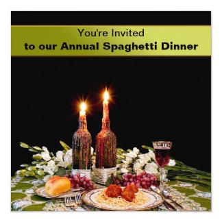"DINNER INVITATION - SPAGHETTI - WAXED CANDLES 5.25"" SQUARE INVITATION CARD"