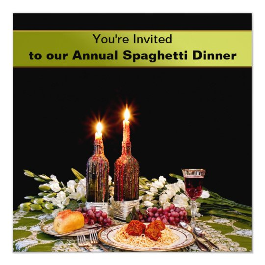 DINNER INVITATION - SPAGHETTI - WAXED CANDLES