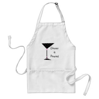 """ Dinner is Poured"" Martini Personalized Apron"