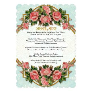 Dinner Menu Art Nouveau Aqua Gold Glitter Roses 5x7 Paper Invitation Card
