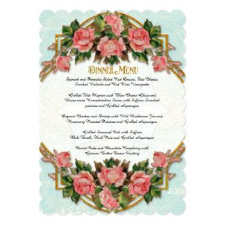 Dinner Menu Art Nouveau Aqua Gold Glitter Roses Card