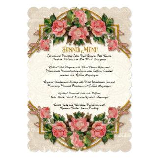 Dinner Menu Art Nouveau Blue Gold Glitter Roses 5x7 Paper Invitation Card