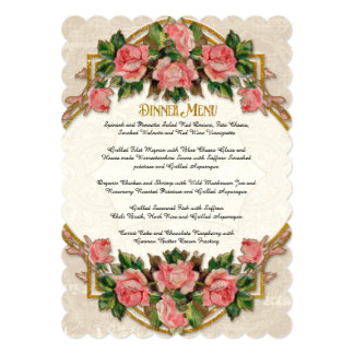 Dinner Menu Art Nouveau Blue Gold Glitter Roses Card