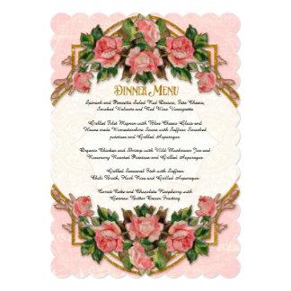 Dinner Menu Art Nouveau Gold Glitter Roses 5x7 Paper Invitation Card