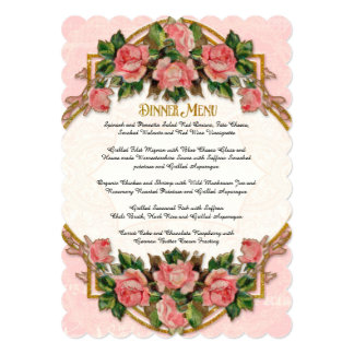 Dinner Menu Art Nouveau Gold Glitter Roses Card