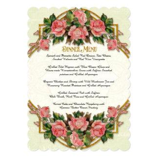 Dinner Menu Art Nouveau Mint Gold Glitter Roses 5x7 Paper Invitation Card