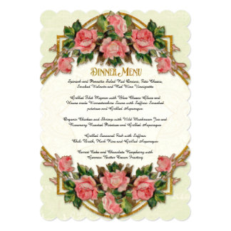 Dinner Menu Art Nouveau Mint Gold Glitter Roses Card