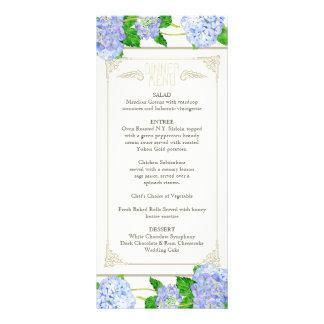 Dinner Menu Blue Hydrangea Lace Floral Formal Full Color Rack Card