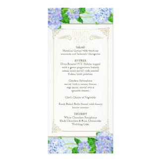 Dinner Menu Blue Hydrangea Lace Floral Formal Rack Card