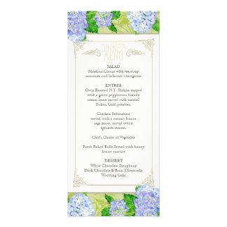 Dinner Menu Blue Hydrangea Lace Floral Formal Customized Rack Card