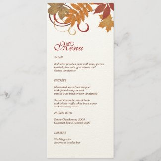 Dinner Menu Card | Autumn Falling Leaves