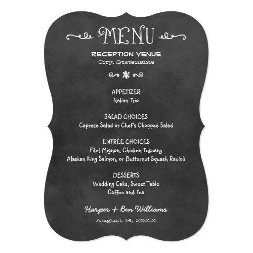 Dinner Menu Card | Black and White Chalkboard Look