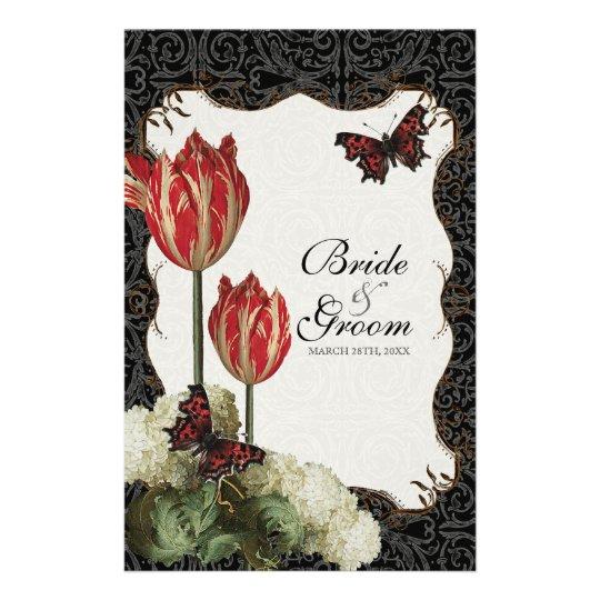 Dinner Menu Card - Black n Cream Red Tulip Damask